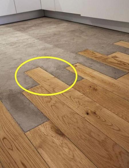 一半是地板一半是水泥 裸装新奇个性重叠